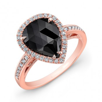 26176 Rose Gold BLK Diamond Ring