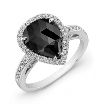 Pear Shape Black Diamond Ring 26176-w
