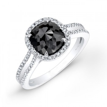 2 1/4ct Cushion Black Diamond Halo Ring