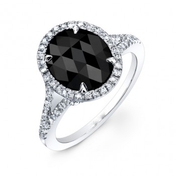 2.10 oval Black Diamond Ring