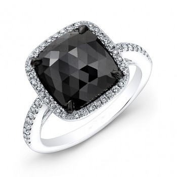 2.50 Cushion Black Diamond Ring