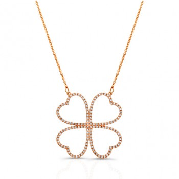 14K Rose Gold Diamond Four Leaf Clover