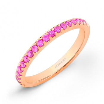 Rose Gold Pink Sapphire Stacking Band