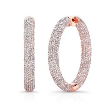 Rose Gold Diamond Pave Hoops 8.50 CTW