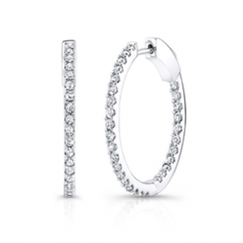 1 ctwt Oval Diamond Hoops Inside Out