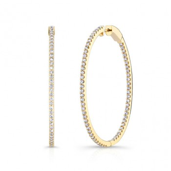 Yellow Gold Oval Diamond Hoops Inside Out 2""