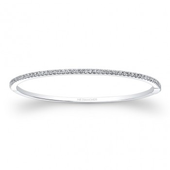 14k White Gold Diamond Prong Set Bangle Large
