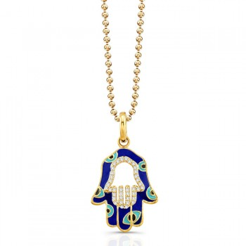 Yellow Gold Hamsa Dark Blue Enamel