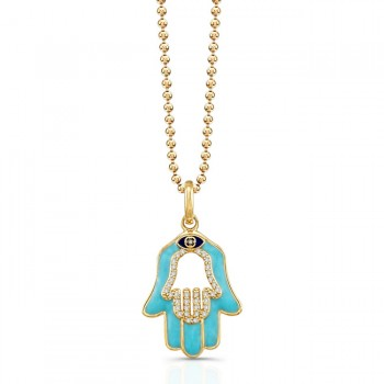 14K Yellow Diamond Hamsa Lt Blue Enamel