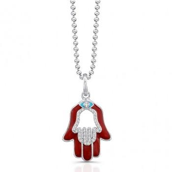 Diamond -Red Enamel Hamsa Necklace