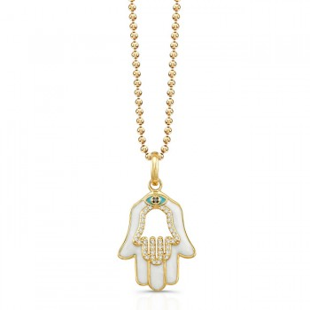 14K Yellow Diamond Hamsa White Enamel
