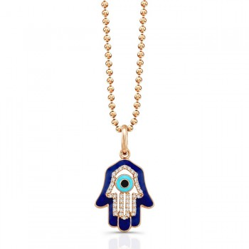 14K Rose Diamond Hamsa Dark Blue Enamel