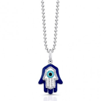 14K White Diamond Hamsa Dark Blue Enamel