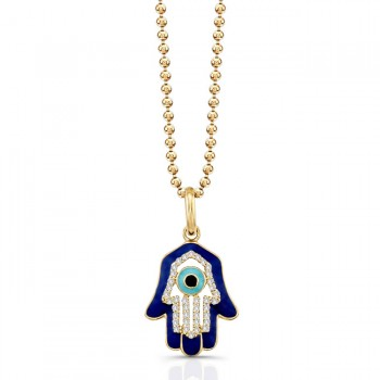 14K Yellow Diamond Hamsa Dark Blue Enamel