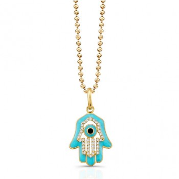 14K Yellow Diamond Hamsa Turquoise Enamel