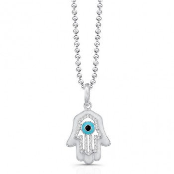 14K White Diamond Hamsa White Enamel
