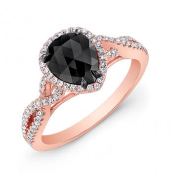 Gold Rose Pear Shape Black Diamond Ring