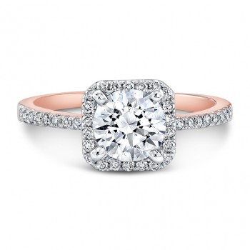 Rose Gold Halo Engagement Ring 1 CTW