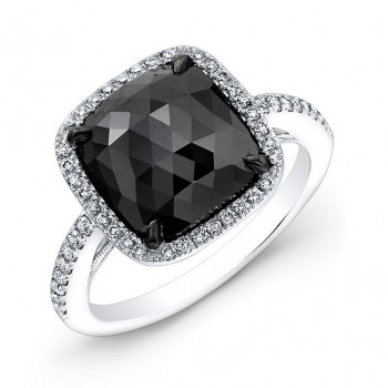 2.30ct Cushion Shape Black Diamond Ring