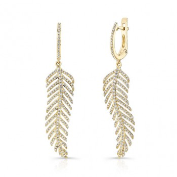 14K Yellow Gold Diamond Leaf Earrings