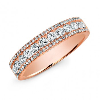 Channel-Prong Diamond Band 14K Rose