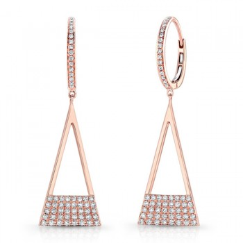 14K Rose Geometric Triangle Diamond Dangle Earrings
