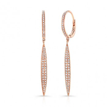 14K Rose Marquis Shape Diamond Pave Earrings