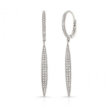 14K White Marquis Shape Diamond Pave Earrings