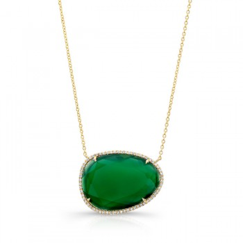 Yellow Gold Green Agate Necklace