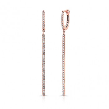 14K Rose Gold Diamond Stick Earrings