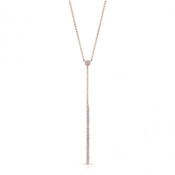 14K Rose Gold Diamond Stick Necklace