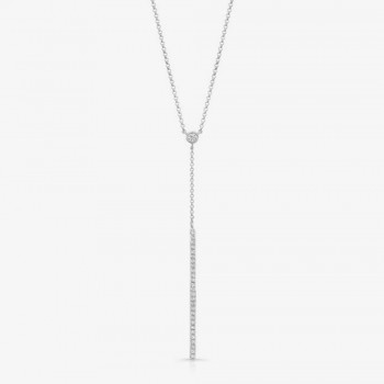 14K White Gold Diamond Stick Necklace