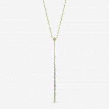 14K Yellow Gold Diamond Stick Necklace