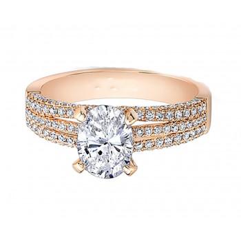 Rose Gold White Diamond Triple Split Shank Engagement Ring