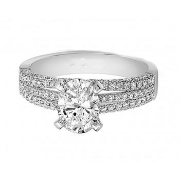 White Gold White Diamond Triple Split Shank Engagement Ring