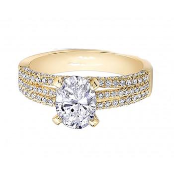 Yellow Gold White Diamond Triple Split Shank Engagement Ring