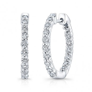 14K WG Inside Out Diamond Hoops 1 CTW