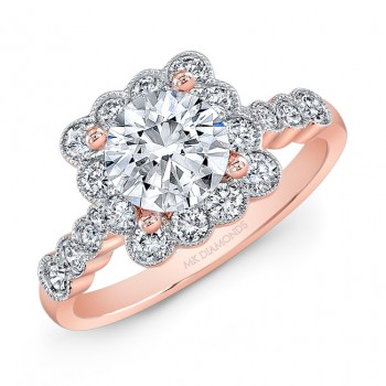 Rose Gold Bezel Design Cushion Halo Engagement
