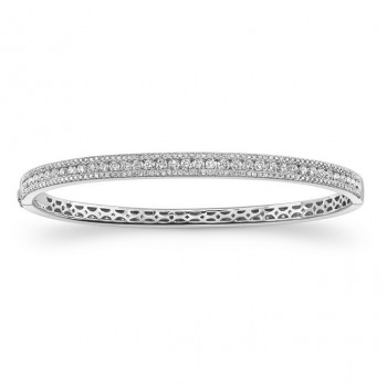 14K White Diamond Prong -Channel Bangle 1.93CTW