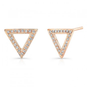 14K Rose Geometric Triangle Diamond Earrings