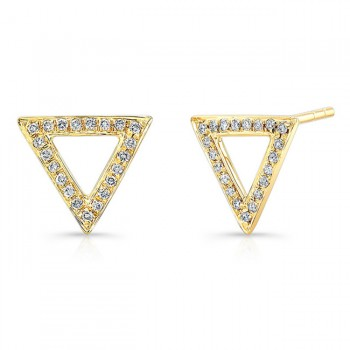 14K Yellow Geometric Triangle Diamond Earrings