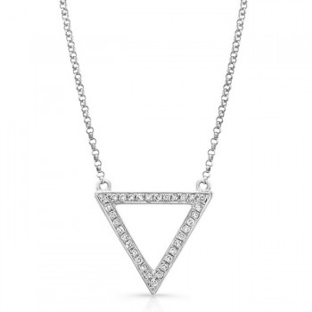 14K White Geometric Triangle Diamond Necklace