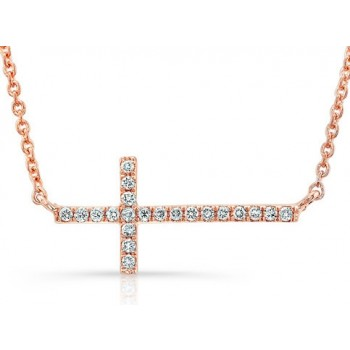 Rose Gold Diamond Cross Bracelet