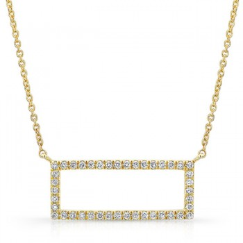 14K Yellow Geometric Rectangle Diamond Necklace