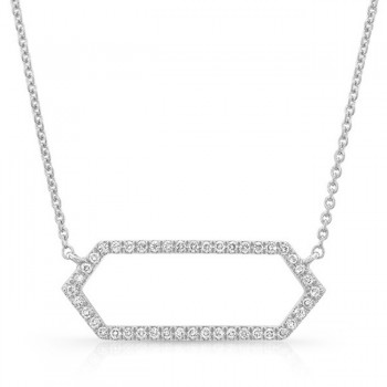 14K White Geometric Elongated Hexagon Diamond Necklace
