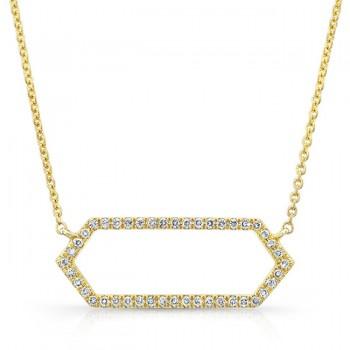 14K Yellow Geometric Elongated Hexagon Diamond Necklace