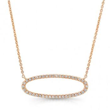 14K Rose Sideways Diamond Necklace