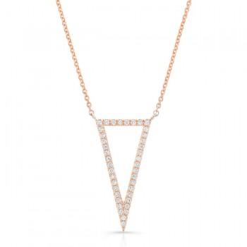 14K Rose Geometric Elongated Triangle Diamond Necklace