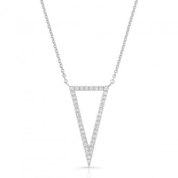 14K White Geometric Elongated Triangle Diamond Necklace