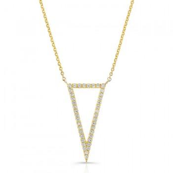 14K Yellow Geometric Elongated Triangle Diamond Necklace